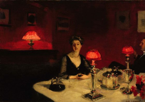 Sargent, John Singer: A Dinner Table at Night. Fine Art Print/Poster (4046)